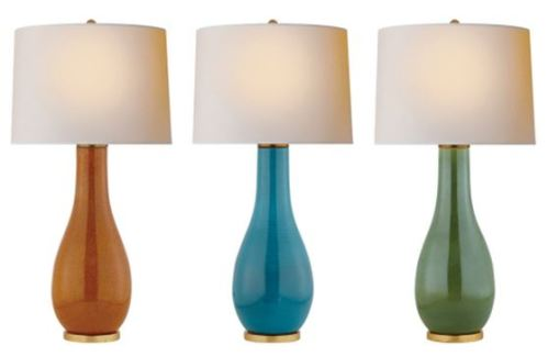The Orson Balustrade Form Table Lamp is shown here in Shanghai Brown, Oslo Blue and Shellish Kiwi; all have a natural paper shade.  The overall height is 82.5cm.